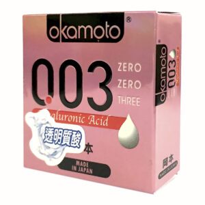 Bao Cao Su Okamoto 0.03 Hyaluronic Acid Siêu Mỏng Dưỡng Ẩm Và Bôi Trơn dưỡng ẩm Hộp 3 Cái
