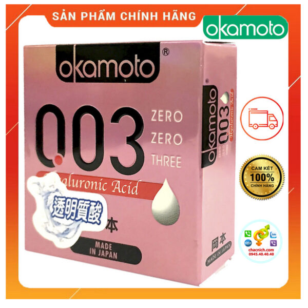 Bao Cao Su Okamoto 0.03 Hyaluronic Acid Siêu Mỏng Dưỡng Ẩm Và Bôi Trơn Hộp 3 Cái