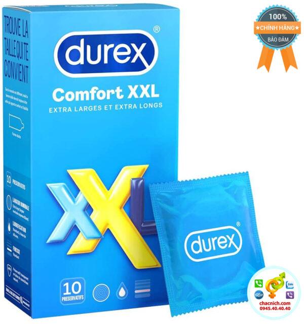 Bao cao su size lớn Durex XXL chính hãng kích thước 64mm rộng rãi thoải mái